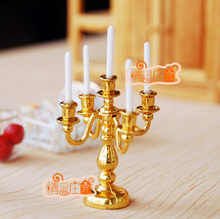 1/12 Dollhouse Miniature Toys ~ Gold Candelabra Candle Holder For Doll House Table Decor Accessories