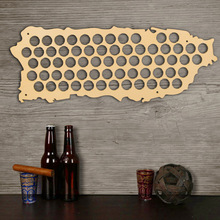 Free Shipping 1Piece Wall Mounted Beer Cap Map Of Puerto Rico Wooden Map Display Board Wood Craft For Cap Collector Beer Drinker