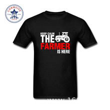 2017 New Fashion Funny Keep Calm The Farmer Is Here Cotton t shirt for men