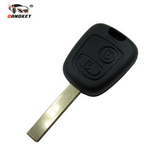 DANDKEY 2 Buttons Uncut Blade Remote Key Shell for Peugeot 107 207 307 Car Keys Blank Key Cover Case With Groove New(China)