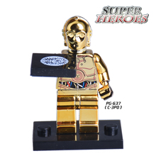 1PC Star Wars C3PO Chrom Golden Diy figures Super Heroes Avengers Limited Edition Building Blocks DIY Toys Kids Bricks Xmas - Five-Stars Store store