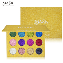 IMAGIC 12 Color Glitter Injections Pressed Glitters Single Eyeshadow Diamond Rainbow Make Up Cosmetic Eye shadow Magnet Palette