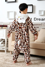 Girls Boys Pyjamas Winter Autumn Kids Flannel Animal funny animal Leopard Hello Kitty Cosplay Pyjamas Children Onesie Sleepwear(China)