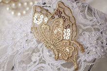 10 pcs gold butterfly lace applique with sequins, 3D golden butterfly applique, BU001