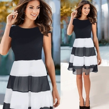 2017 Speed Sell, Ebay Summer New Dress, Europe And America Sexy Mosaic Black And White Chiffon Dress