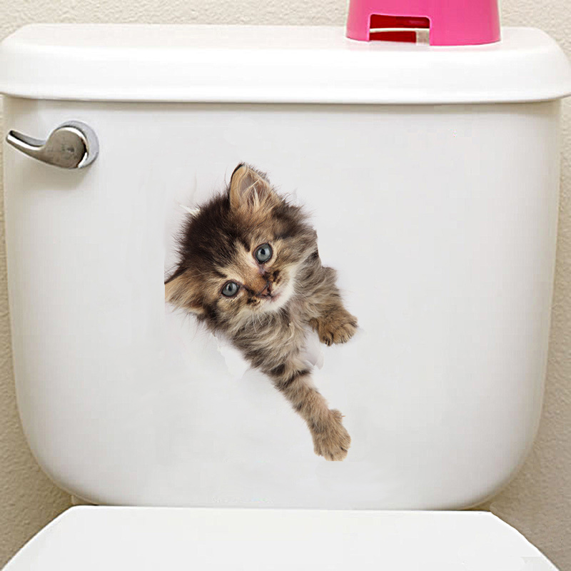 3d cats hamster wall sticker for bathroom 3D Cats Hamster Wall Sticker For Bathroom HTB1