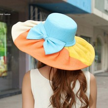 Promotion ! Sun Hats for Girls New Fashion Women Girls Summer Foldable Straw Hats Flower Beach Headwear 6 Colors 30