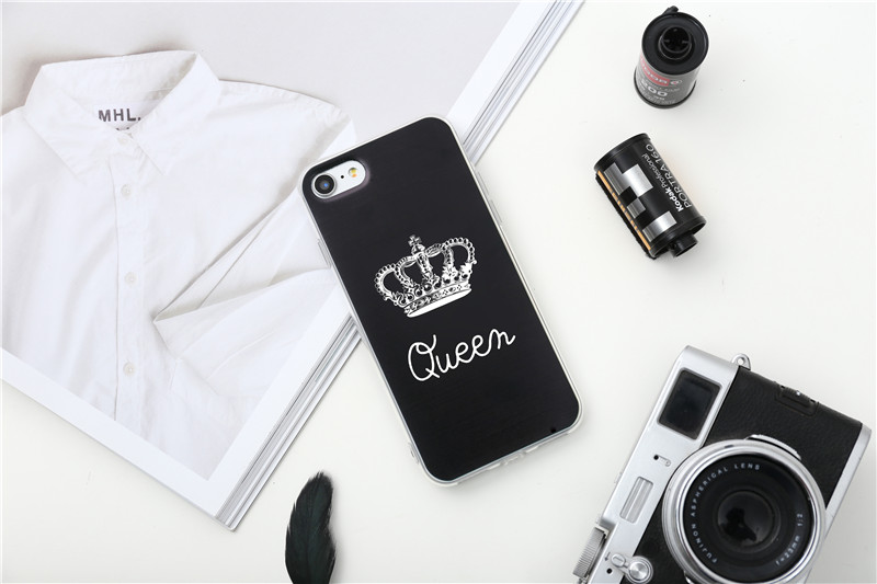 Valentine KING Queen Case for iPhone 6 Case for iPhone 5s 5 Cover Clear Silicone TPU Soft Phone Case for iPhone 8 7 6s Plus Cape 30
