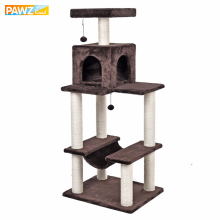 Fashion Desgin H141cm Cat Toy Climbing Solid Furniture Kitten Playing 2 Balls Fun Cat Scratching Solid Wood for Cat House Frame(China)