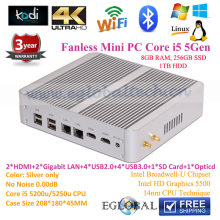 New mini linux embedded dual nic mini pc with 5th processor I5 5200u Mini Pc windows 10 Intel Nuc 8GB RAM 256GB SSD 1TB HDD
