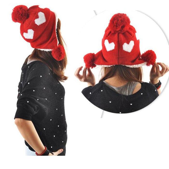 Warm beanies womens velvet hats heart style outdoors skiing knitted winter caps earflap with pompon ladies earmuffsÎäåæäà è àêñåññóàðû<br><br><br>Aliexpress