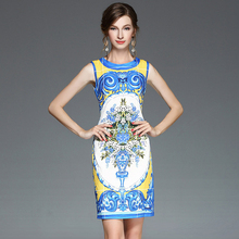 Brief Ladies Mini Dresses Summer 2017 Flowers Print O-Neck Sleeveless Topshop Tank Casual Slim Fashion A-Line Blue Dress