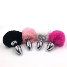 Buy 2016 New Small Size Metal Rabbit Tail Anal Plug bunny 10 Color Butt Plug Metal Booty Beads Stainless Sex products