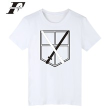 WOW Attack On Titans funny t shirts fitnees Summer Cotton T-shirt men Solid T Shirt Men gg men Casual tshirt WHITE(China)