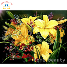 5d diy square diamond panting paint home decor rhinestone picture diamond embroidery mosaic cross-stitch yellow flowers AB065