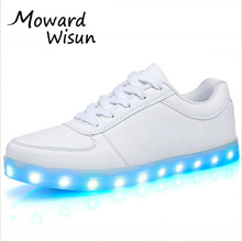 Fashion Usb Glowing Shoes Luminous Sneakers for Kids Boys LED Shoes with Light Up sole Krasovki Tenis Feminino LED Slippers 30(China)