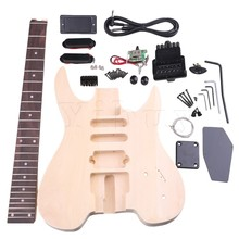 Yibuy Basswood Maple WT-2 6 String Electric Guitars DIY Kit Body Pickguard Humbucker Pickup Bridge Tuning Pegs Neck Knob for Gui