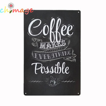 COFFEE MAKE EVERYTHING POSSIBLE   VINTAGE Tin Sign Bar pub home Wall Decor Retro Metal ART Poster