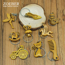 Zoeber wholesale cute Rabbit keychain chain cartoon bicycle butterfly retro Imitation peach wood keychain keyring car phone bag