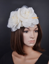 NEW 4 colours Ivory silk flowers fascinator sinamay base formal hat kentucky derby hat wedding hat.FREE SHIPPING.