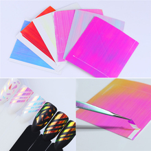 BORN PRETTY 6 Sheets Holo 3D Nail Sticker Adhesive Ultra Thin Laser Line Candy Nail Foil Decal