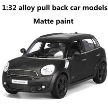 1:32 alloy pull back car models,high simulation MINI car,metal diecasts,toy vehicles,two open the door,matte paint,free shipping(China)