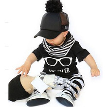 Anlencool  Hot Fashion Baby Boy Clothing Set Cool Glasses Short Sleeve Cartoon T-shirt+Pants Infant Bebe Newborn Clothes