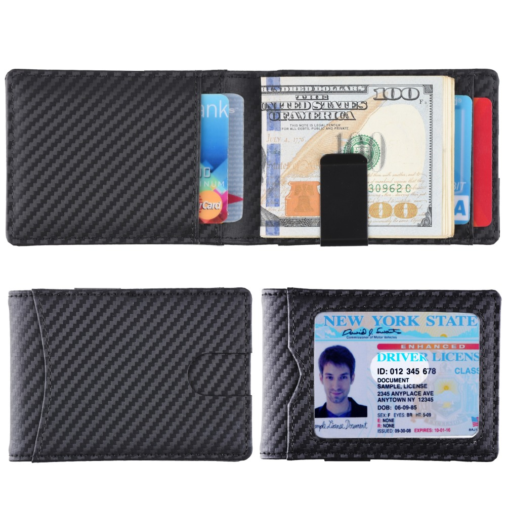 2019 Front Pocket Wallet Minimalist Money Clip Carbon Fibre Slim RFID Blocking