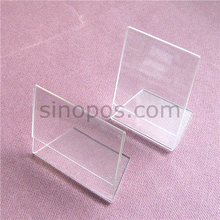 Acrylic L Display 8x12cm, sign holder rack clear crystal organic glass, plastic L-shaped advertising frame tag signs card ticket