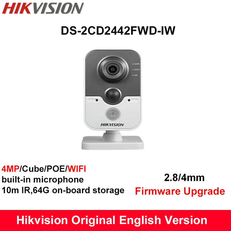 In Stock Hikvision English Mini Wifi Camera DS-2CD2442FWD-IW 4MP IR Cube IP Camera PoE built in Microphone Day/Night CCTV Camera(China (Mainland))