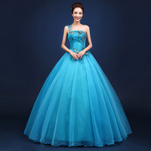 2016 Luxury Sky Blue Stage Audition Solo Dresses Flower Embroidery Stage Performance Marie Antoinette Ball Gown(China)