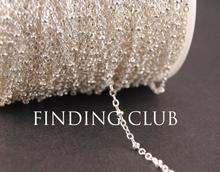 factory/10M(32ft)  Silver Brass Flat Cable with 2mm Oblate Bead Link Chain DIY Necklace Findings C07