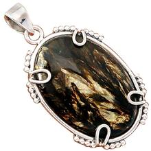Lovegem Golden Seraphinite Pendant 925 Sterling Silver, 49 mm, AP2704(China)