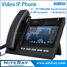 "Android 4.2 OS,6 SIP lines,sip/voip video ip phone with 7""TFT 800X480 touch screen support PoE function(China)"