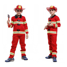 Kids Firefighter Uniform Boys Fireman Costume Fireman Suit Performance Kids Halloween Fire Clothing Cosplay Costume For Boy(China)