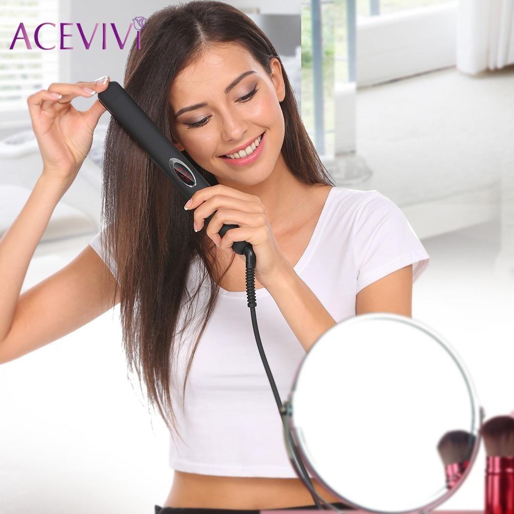 ACEVIVI Professional Hair Straightener Ceramic Tourmaline Infrared Flat Straightening Irons With Glove EU/US/UK Plug<br>