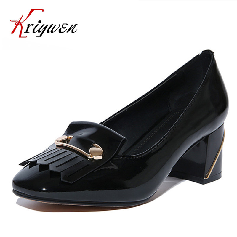 2016 Brand Women Shoes Causal Chunky High Heels Round Toe tassel red black Ladies Shoes Pumps White Black Large Size size 34-43<br><br>Aliexpress