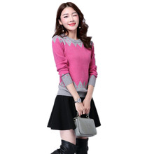 New Women Sweater Casual Slim Long Sleeve O-neck Autumn Winter Knitted Pullovers Tops Flower Print Blusas De Inverno Feminina(China)