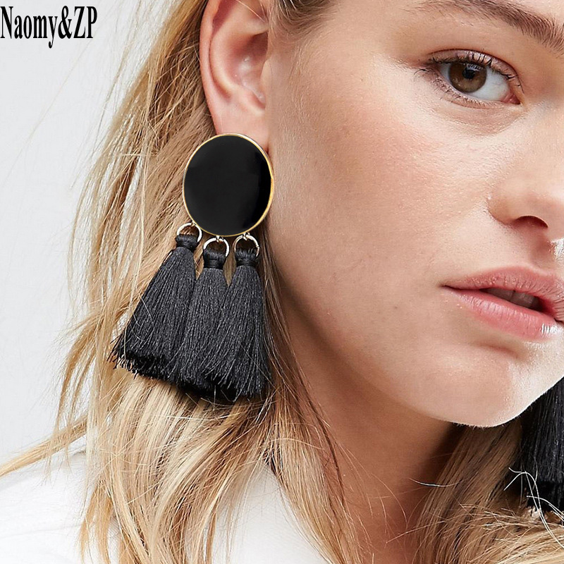 Naomy&ZP Tassel Earrings Dangle Round Ethnic Bohemian Long Earrings Women Big Fringed Drop Earrings Vintage Jewelry Brincos