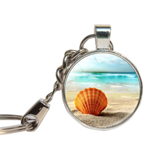 Beauty Sea Shell Keychain Glass Cabochon Summer Beach Key Ring Glass Dome Custom Photo Key Chains Jewelry Key Holder(China)