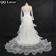 Buy QQ Lover 2018 New Long Sleeves Lace Detachable Train Mermaid Wedding Dress Custom-made Plus Size Bridal Vestido De Noiva for $79.98 in AliExpress store