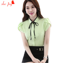 Summer Formal Business Tops Women Bowknot Solid Color Clothings Cardigan Shirt Women's Blouses Plus Size 4XL Female Blusa Top