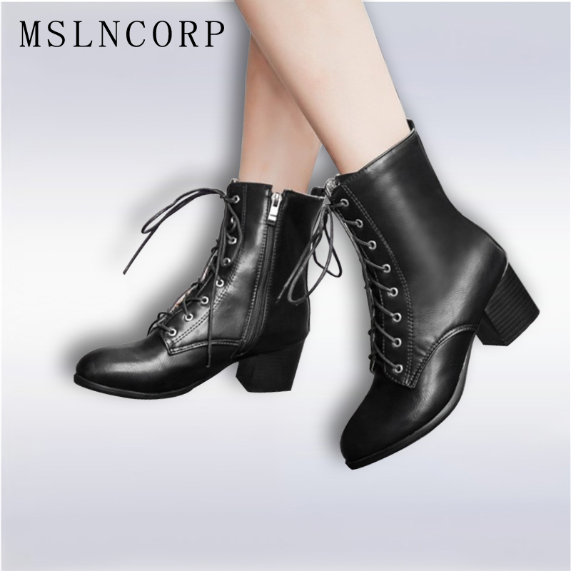 Plus Size 34-45 Autumn Winter Women boots High heels Lace-Up Ladies Sapatos Martin Leather boots Square heel Snow Boots Shoes<br>