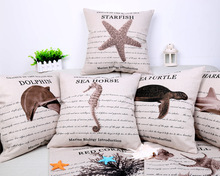 Marine Biology Introduction Cushion Cover Genius In The Rough Sea Dolphine Starfish Pillows Linen Cotton Pillow Case 45x45cm