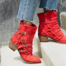 Design Western Cowboy Boots for Woman Red Suede Buckle Strap Thick Heel Female Ankle Boots Shoes Woman Big Size US10