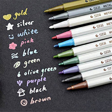 10 pcs/lot STA Metallic Colored Ink Water Chalk Pen for Scrapbook Photo Album Drawing Watercolor Art Marker Gel Pens Stationery(China)