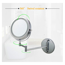 7 inch makeup mirror double-sided LED light mirror wall mounted extending folding mirror with 10x magnification