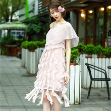 European high-end high-quality clothing beautiful woman pink mantle sleeve off the shoulder elegant ruffle ladies dress chiffon