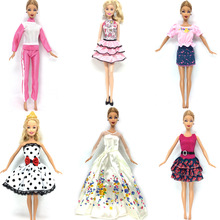 NK 6 Set/Lot Hot Sell Doll Outfits Top Fashion Dress Party Gown Clothes For Barbie Doll Baby Toys Best Girls' Gifts Child Toys(China)