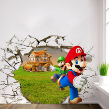 Latest 2 Sizes Popular Game Poster 3D Super Mario Bro Wall Sticker Home Decor for Kids Room Sticker Decal on Wall Wallpaper(China)